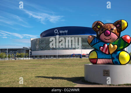 O2 World building now  Mercedes-Benz Arena and fanny colorful sculpture of Bear in front, Berlin, Capital of Germany, - Stock Photo