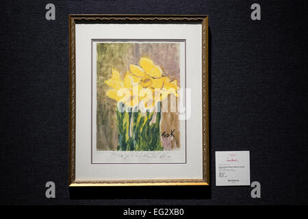SENATOR EDWARD 'TED' KENNEDY,  Daffodils lithograph, est  £390 - 590, at a preview of the auction highlights from - Stock Photo