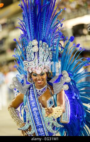 Rio De Janeiro, Brazil. 14th Feb, 2015. Carnival Princess participates in the annual Carnival parade at the Sambadrome - Stock Photo