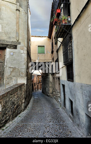 view of old medieval alley at Toledo, Spain - Stock Photo