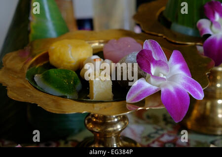 Collection of sweets served in a teahouse in Bangkok Thailand on 14 January 2015. Photographer: Eddie Gerald - Stock Photo