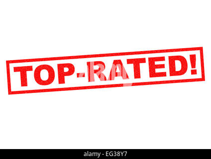 TOP-RATED red Rubber Stamp over a white background. - Stock Photo