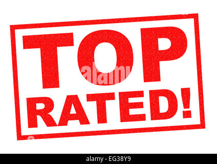 TOP RATED red Rubber Stamp over a white background. - Stock Photo