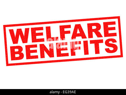WELFARE BENEFITS red Rubber Stamp over a white background. - Stock Photo