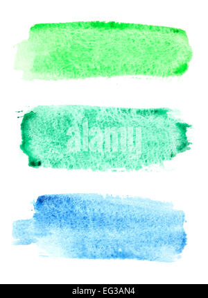 Colorful watercolor brush strokes over white background - Stock Photo
