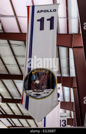 Banner of the Apollo 11, first manned Moon landing in 1969, at NASA Johnson Space Center, Houston, Texas, USA. - Stock Photo