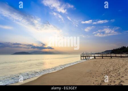 Nha Trang City Beach, Vietnam. Early Morning - Stock Photo