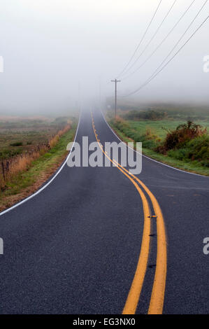 Sunrise in fog with working farm and backroad through countryside - Stock Photo