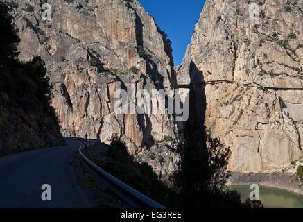 The Gorge of the Gaitanes - El Caminito del Rey walkway along right cliff,  El Chorro, Malaga Province,  Andalucia, - Stock Photo