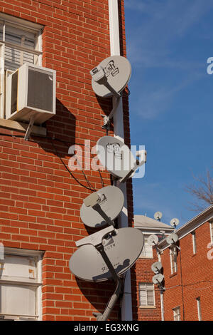 TV satellite dishes mounted on exterior of apartment building - Virginia USA - Stock Photo