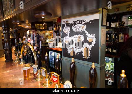 Bar inside The Eel Pie pub / public house / tavern. Church St. Twickenham UK; popular with Rugby fans on match days - Stock Photo