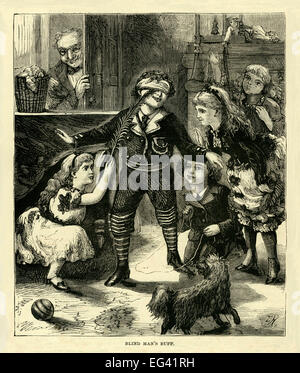 Victorian illustration of 1877 showing children playing blind man's buff or blind man's bluff - Stock Photo