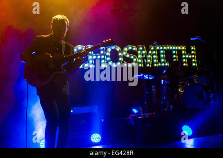 Austin, TX, USA. February 15, 2015. Jamie Sierota (left) and Graham Sierota (right) of American indie pop band Echosmith. - Stock Photo