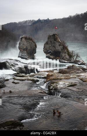Rhine Falls in winter, Neuhausen, Switzerland - Stock Photo