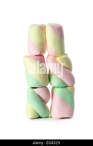 marshmallow stack, isolated on white - Stock Photo
