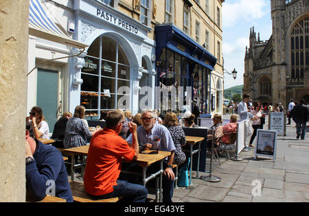 England Avon Bath Cafes in Abbey Churchyard  Peter Baker - Stock Photo
