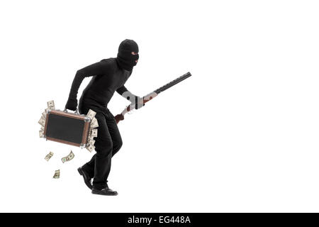 Criminal with briefcase full of stolen money running away quietly isolated on white background - Stock Photo