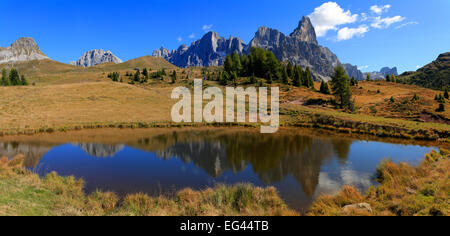 Cimon della Pala, Passo Rolle, Autumn, Trentino Province, Italy - Stock Photo