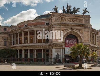 The Politeama Garibaldi theater in Palermo. Sicily. Italy - Stock Photo