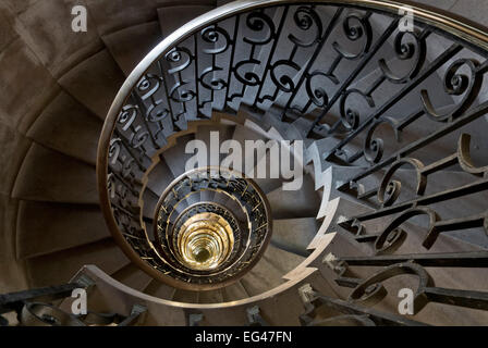 Spiral staircase at the old Midland Bank in the City of London - Stock Photo
