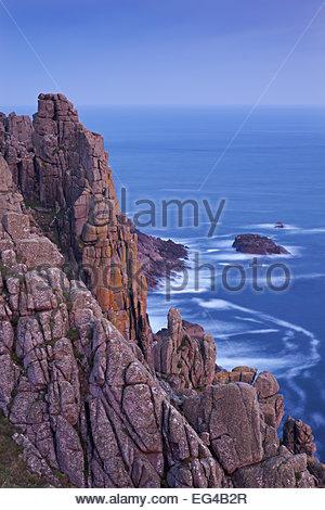 Towering granite cliffs at Gwennap Head near Land's End Cornwall England. May 2012. - Stock Photo