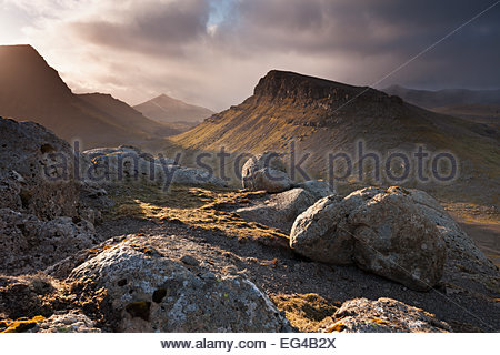 Mountainous interior the island Streymoy one the Faroe Islands. June 2012. - Stock Photo