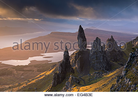 Old Man Storr basalt pinnacles on the Isle Skye Scotland. November 2012. - Stock Photo