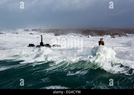 Rough seas during Storm 'Ruth' Ile d'Ouessant Armorique Regional Park. Iles du Ponant Finistere Brittany France - Stock Photo