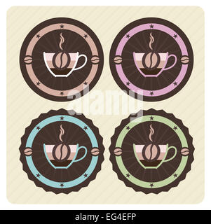 Set of vector coffee icons in vintage colors - Stock Photo