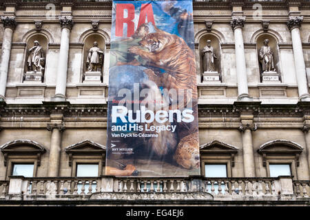 The Royal Academy of Arts, Burlington House, London, UK. Currently (2015) holding a major exhibition on 'Rubens - Stock Photo