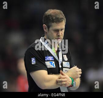 Magdeburg, Germany. 15th Feb, 2015. Magdeburg's coach Geir Sveinsson reacts during the Bundesliga handball match - Stock Photo