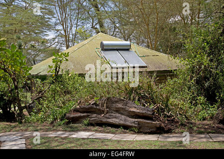 Solar hot water system on roof of cottage Elsamere Kenya - Stock Photo