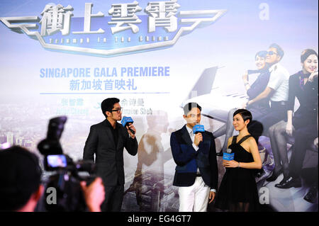 Singapore. 16th Feb, 2015. Hong Kong Actor Julian Cheung (2nd R) and Charmaine Sheh (1st R) attend the gala premiere - Stock Photo