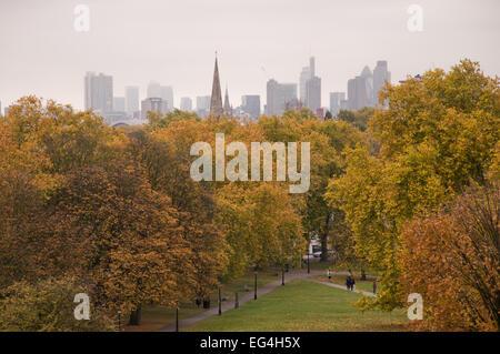 Autumn (fall) in Primrose Hill Park, London, England - Stock Photo