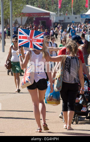British people walking through Olympic Park, London, England - Stock Photo