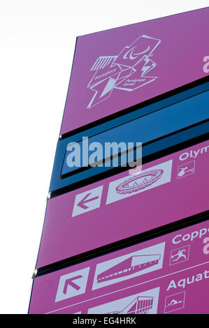 Large signpost at the Olympic 2012 Games, Olympic Park, London, England - Stock Photo