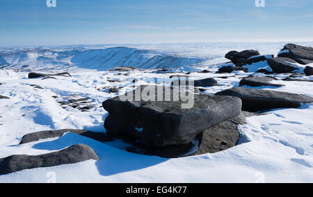 Looking into Edale from Kinder Low summit in the Peak District on a sunny day in the snow - Stock Photo