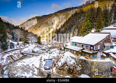 Nagano, Japan valley at Yudanaka and snow monkey park. - Stock Photo
