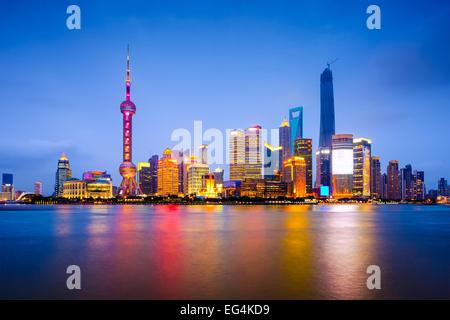 Shanghai, China city skyline on the Huangpu River.