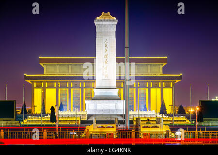 Beijing, China at the Monument to the People's Heroes in Tiananmen Square at night. - Stock Photo