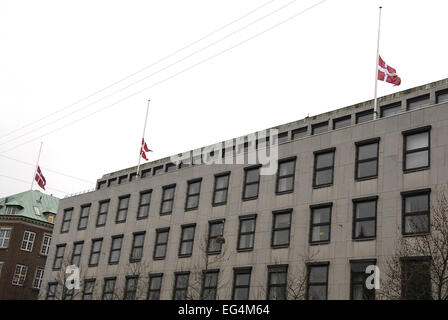 Copenhagen, Denmark. 16th February, 2015. Dannebrog/Danish flag at half mast on official buildings, ministries, - Stock Photo