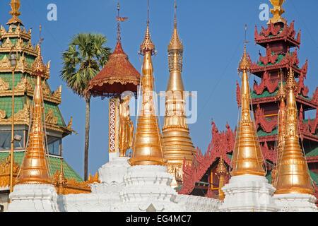 Golden stupas in the Shwedagon Zedi Daw Pagoda at Yangon / Rangoon, Myanmar / Burma - Stock Photo