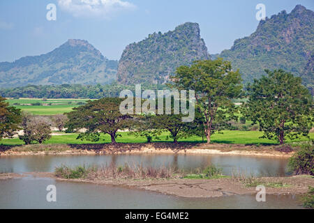 Than Lwin / Salween River and view over the rocky karst outcrops and mountains near Hpa-an, Kayin / Karen State, - Stock Photo