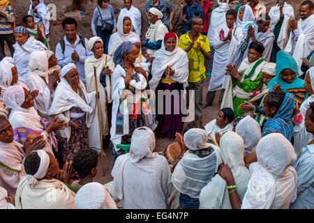 Ethiopian Christians Celebrating Christmas, Biete Giyorgis (Church of Saint George), Lalibela, Ethiopia - Stock Photo