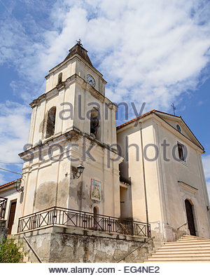 Squille a country in the province of Caserta, region Campania Italy, August 2013. the church and the old bell tower. - Stock Photo