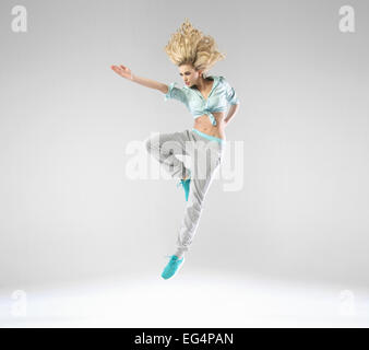 Blonde cheerful lady during the training - Stock Photo