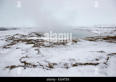 The Geysir hot spring area in the Golden Circle, Iceland - Stock Photo