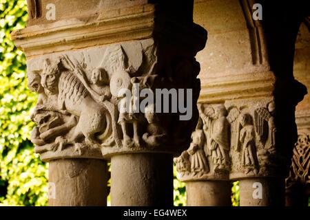 Romanesque Collegiate Church Santa Juliana cloister Santillana del Mar Cantabria Spain - Stock Photo