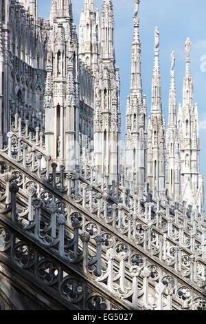 Spires, Milan Cathedral (Duomo di Milano), Milan, Italy - Stock Photo