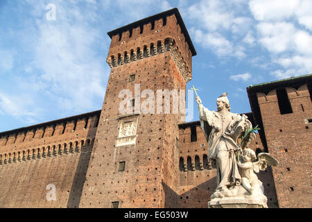 Statue of San Giovanni Nepomuceno (protector of soldiers), by Giovanni Dugnan, and tower, Sforza Castle, Milan, - Stock Photo